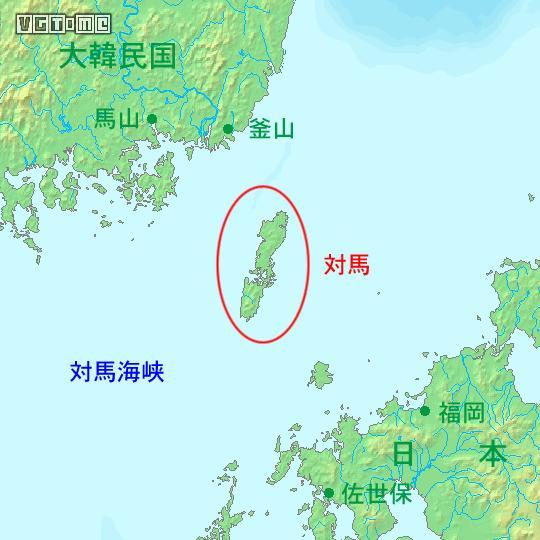 对马岛位置,图片来自wiki