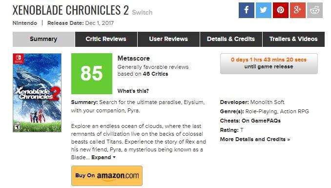 《异度神剑2》媒体评分解禁 部分评价汇总