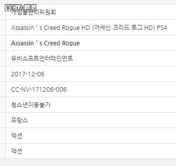 《刺客信条 叛变HD》出现在韩国游戏分级网站