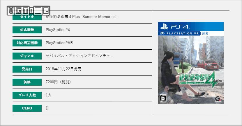 《绝体绝命都市4 Plus ~夏日回忆~》延期至2018年11月22日发售