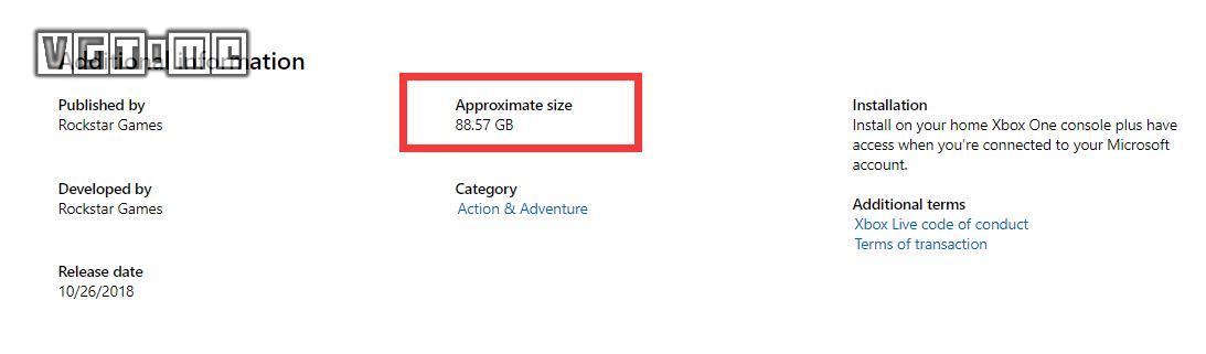 Xbox商店显示《荒野大镖客 救赎2》大小为88.57GB