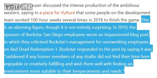 Work 100 hours a week, Rockstar excessive overtime comments by the industry