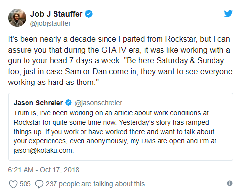 前Rockstar雇员:在这儿工作就像有人拿枪指着你的脑袋