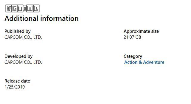 《生化危机2 重制版》Xbox One数字版大小约为 21GB