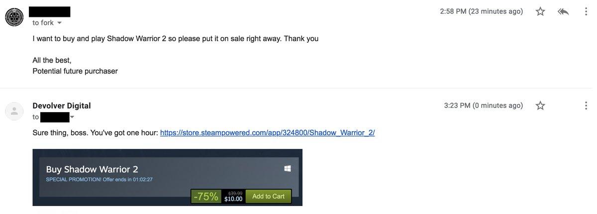 玩家邮件请求游戏打折,Devolver Digital就真的照办了