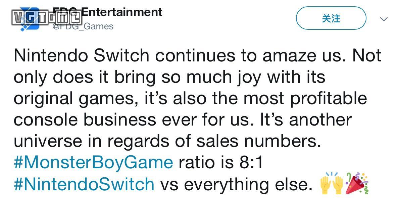 《怪物男孩与被诅咒的王国》Switch版销量是其他平台之和的8倍
