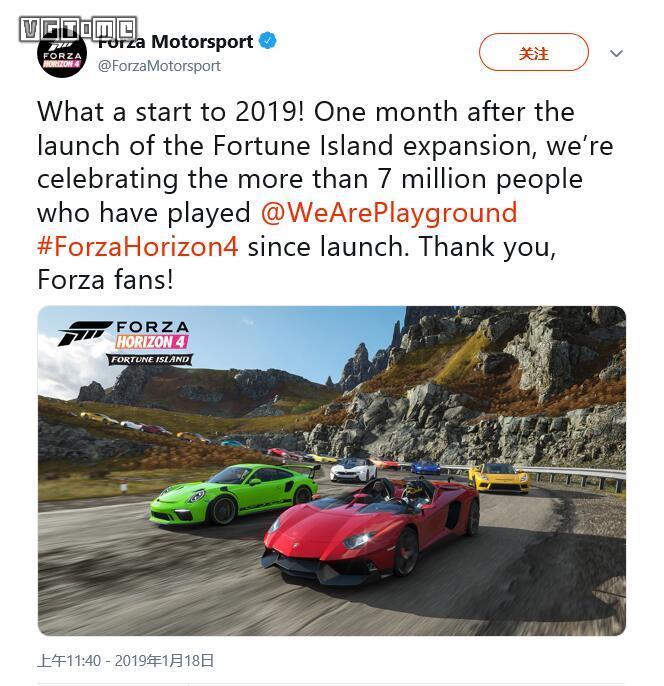 《极限竞速 地平线4》玩家数量突破700万