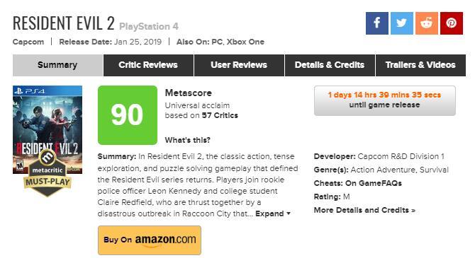 《生化危机2 重制版》媒体评分汇总:这才叫经典重制