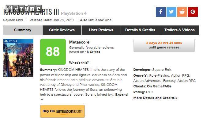 《王国之心3》媒体评分汇总:一场与迪士尼的疯狂互动