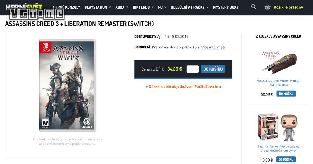 传闻《刺客信条3》合集将登陆Switch 今年2月发售