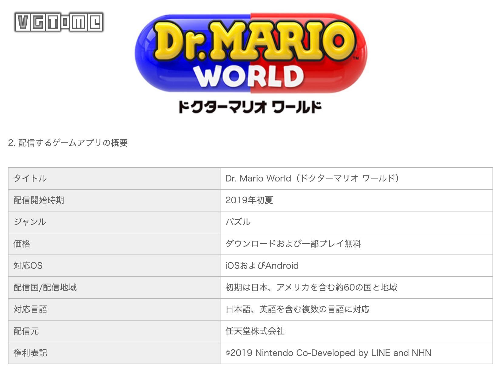 任天堂与LINE今夏合作推出手游《马力欧医生 世界》