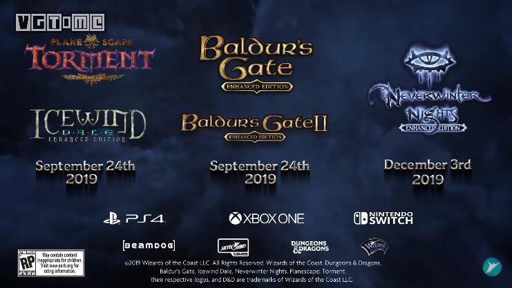 主机版《异域镇魂曲》《博德之门》等6款经典RPG发售日确定