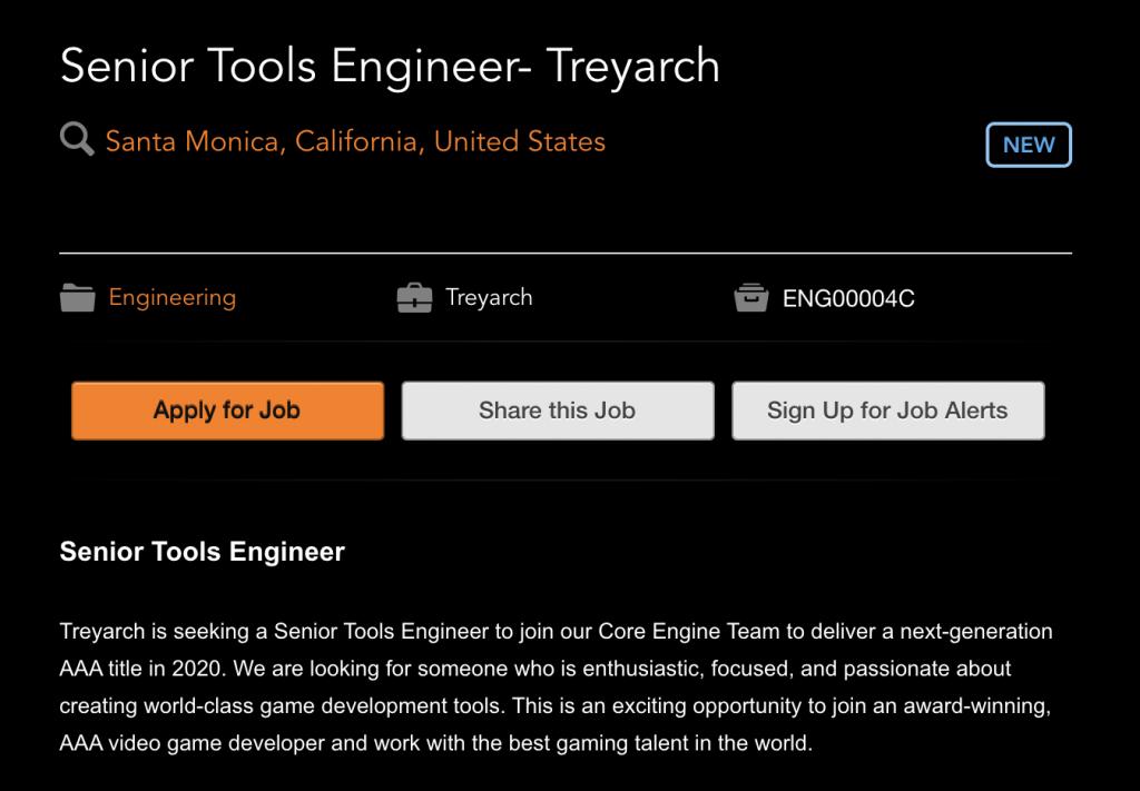 看起来Treyarch接盘了2020年《使命召唤》,大锤已降为辅助开发