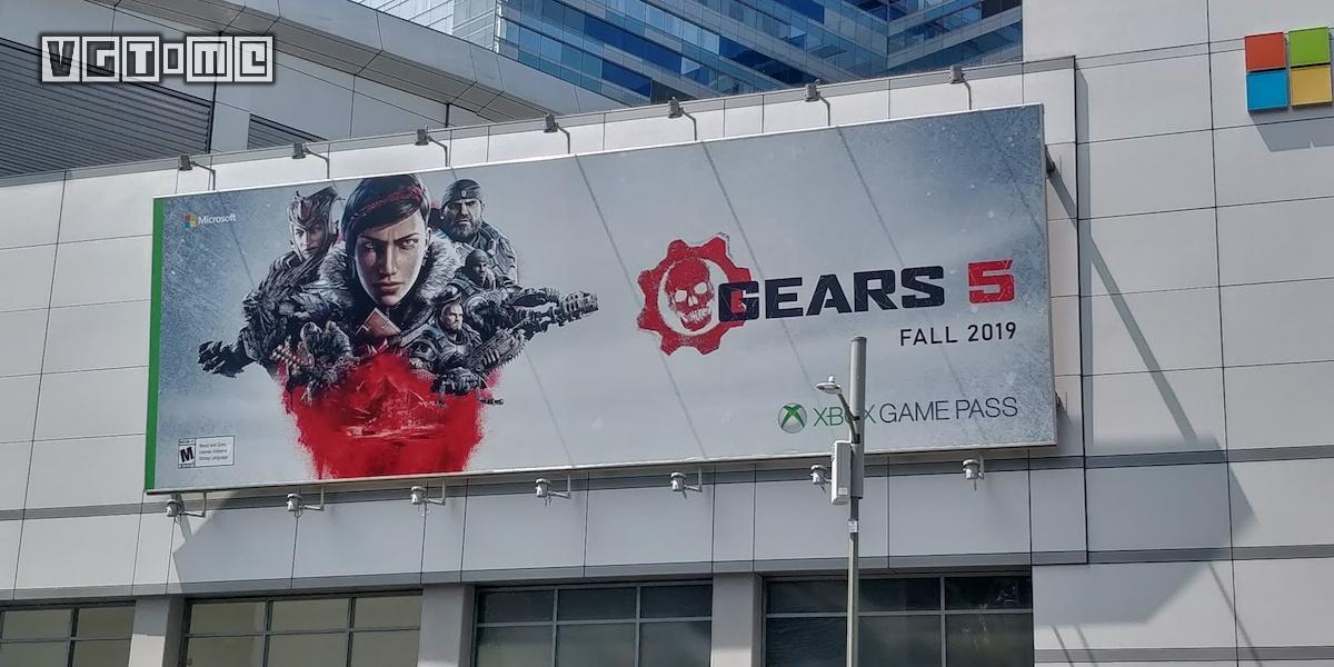 E3现场广告牌显示,《战争机器5》将于2019年秋季发售