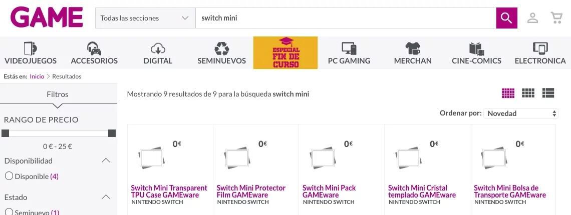 西班牙零售商惊现Switch Mini配件,目前已下架