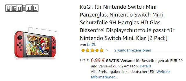 德国亚马逊上架了一款Switch Mini的屏幕贴膜