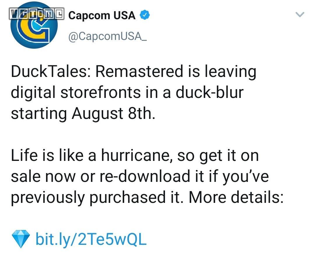 童年回忆《唐老鸭历险记:高清重制版》数字版即将下架