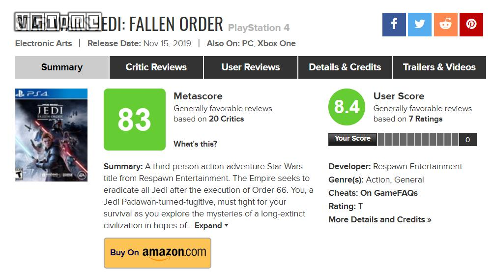 Media rating summary of Star Wars Jedi: Fallen order: return of Jedi