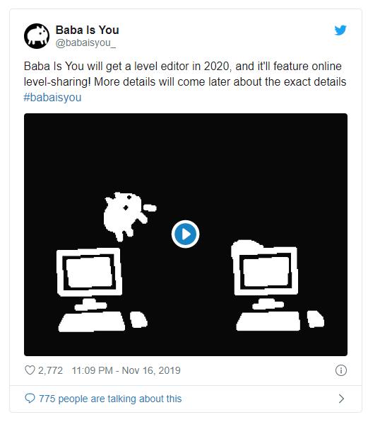 独立佳作《Baba is you》将在2020年推出关卡编辑器