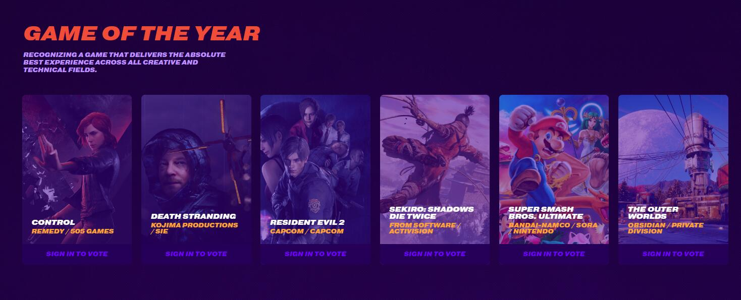 TGA 2019 awards nominations release 6 best game of the year