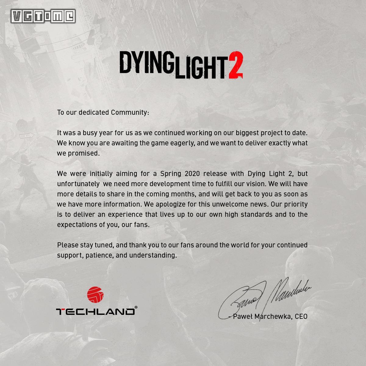 《消逝的光芒2》将延期发售,新发售日未定