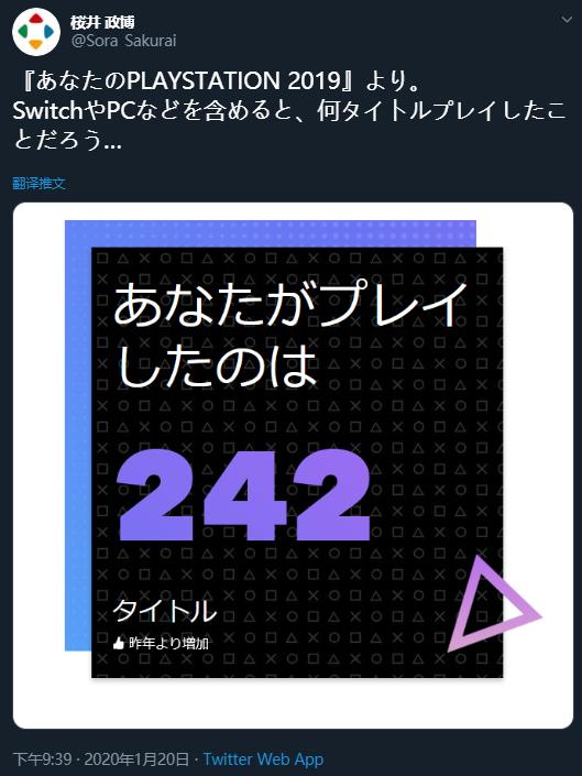 樱井政博在2019年玩了242款PS4游戏,平均一周近5款
