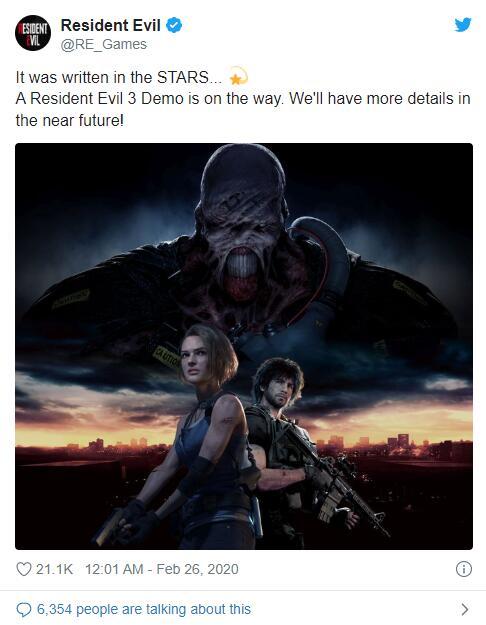 《生化危机3 重制版》发售前将推出试玩版