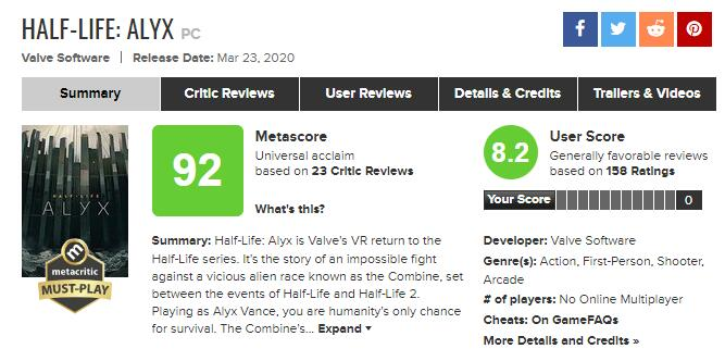 Half life: Alex media rating summary: new benchmark of VR game
