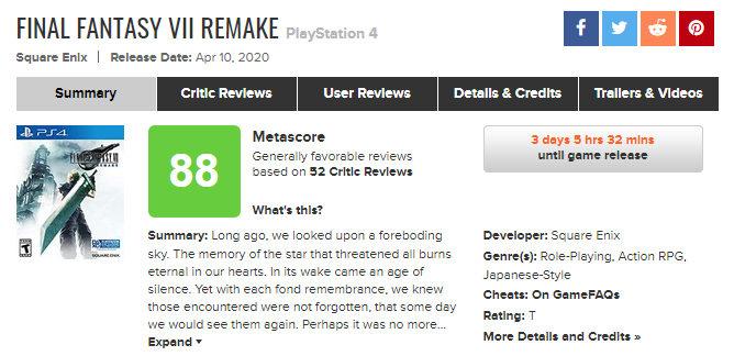 《最终幻想7 重制版》媒体评分汇总:不得不玩的重制佳作