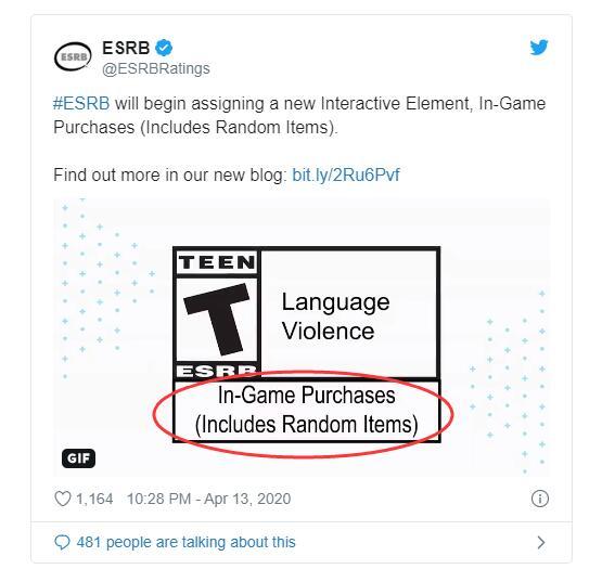 ESRB分级标识新增游戏是否包含随机内容提示