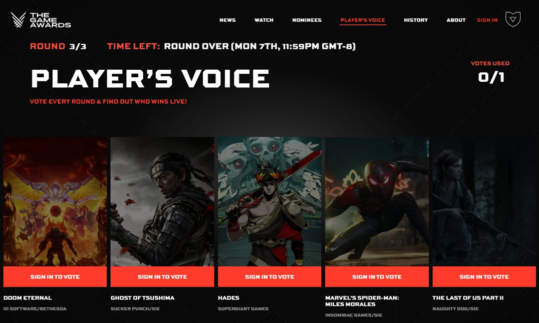 TGA 2020「玩家之声」尘埃落定,《对马之魂》人气最高
