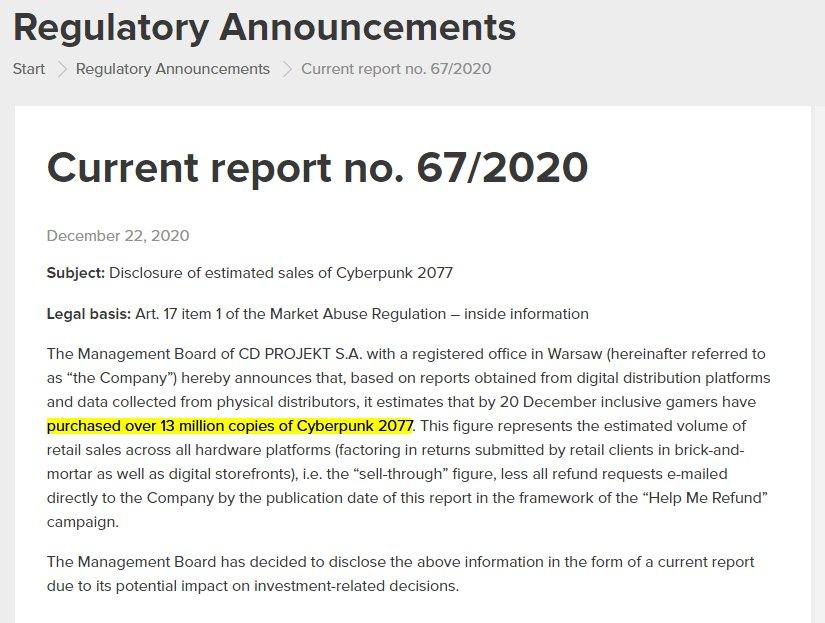 就算扣除退款,《赛博朋克2077》销量仍超过1300万份