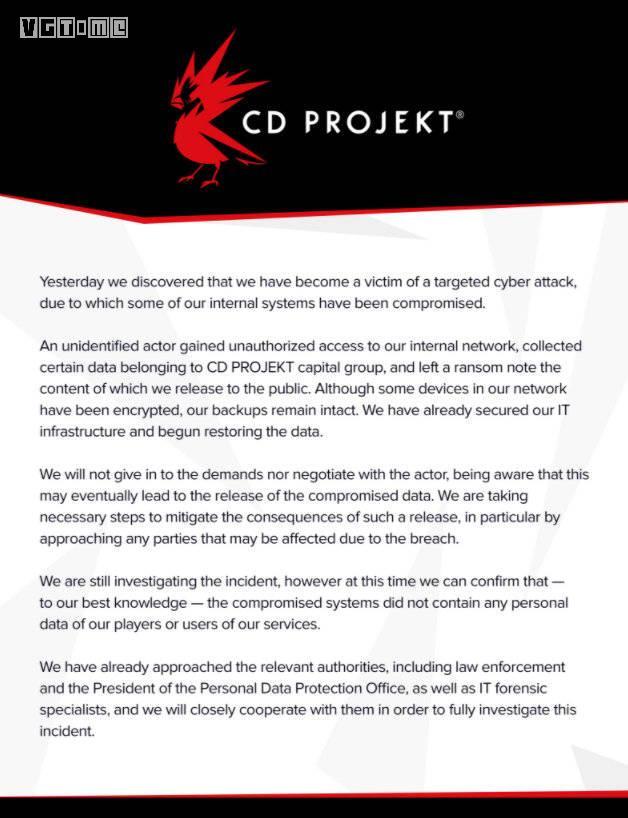 CD PROJEKT遭受黑客攻击 用户数据未被泄露