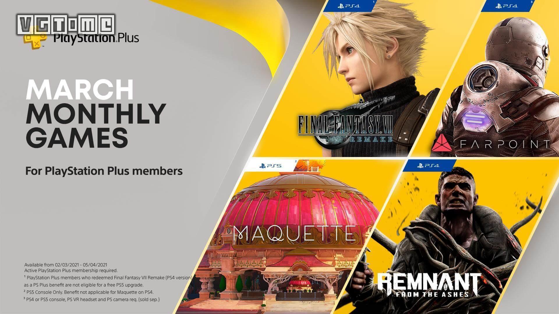 2021年3月欧美服PS+会员免费游戏:《最终幻想7 重制版》《遗迹:灰烬重…