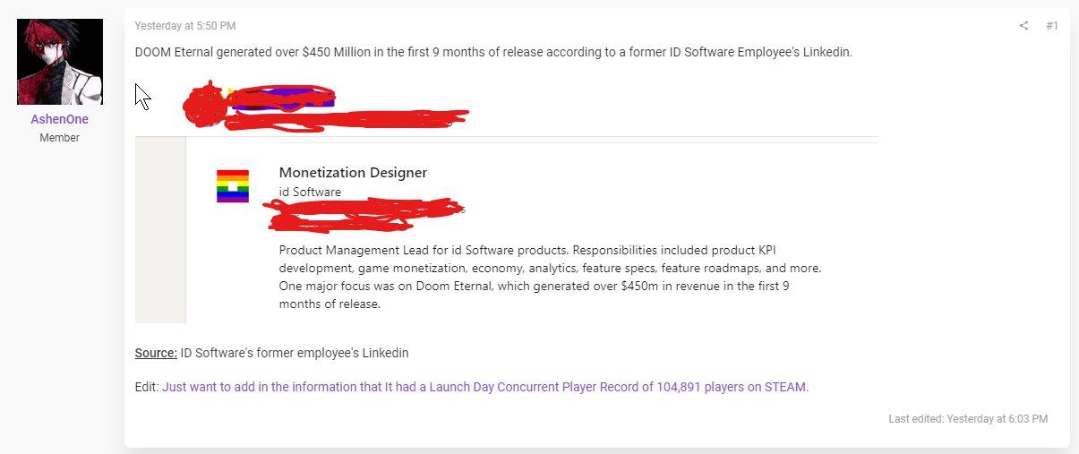 开发者领英资料显示,《毁灭战士 永恒》发售9个月收入3.23亿英镑