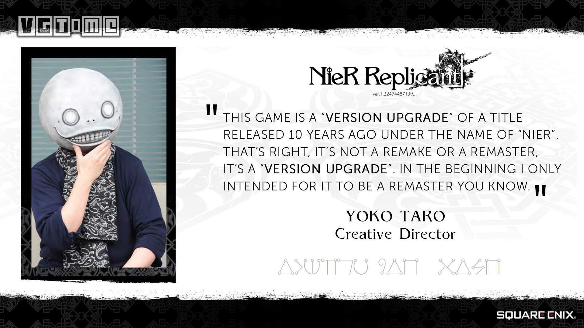 横尾太郎:《尼尔 机械军团》的成功只是侥幸,不认为《尼尔 人工生命 升级版》…
