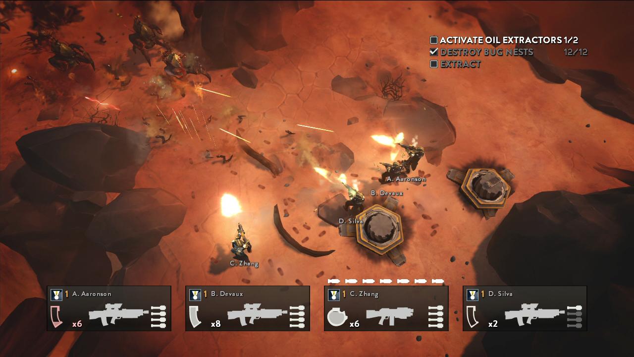 俯视角的射击游戏,非常强调合作,支持4人同屏或者联机游玩。本作中含有友军伤害,友军的火力会对自己造成伤害,也必须卧倒躲避,游戏的策略性也体现于此。游戏的背景故事向《星河战队》致敬,含有不少冷幽默。游戏中的载具也非常拉风,从双足机器人到坦克,都能大大增强玩家的战力。