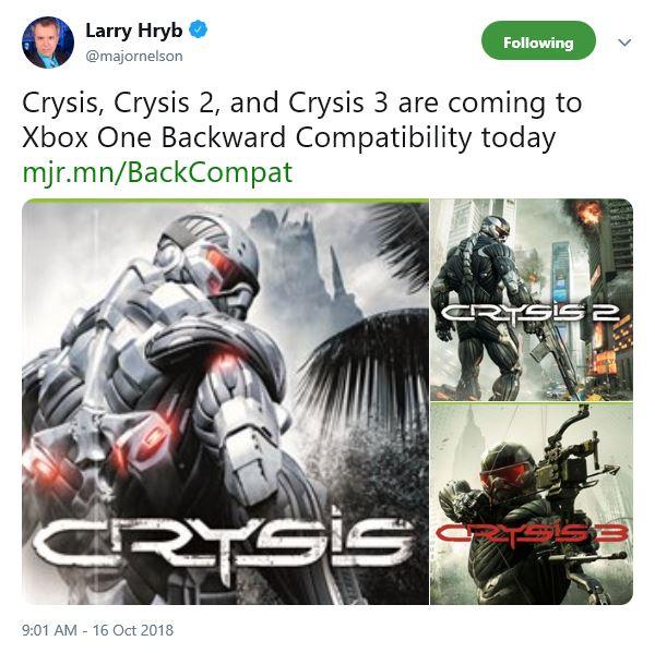 《孤岛危机》三部曲加入Xbox向下兼容
