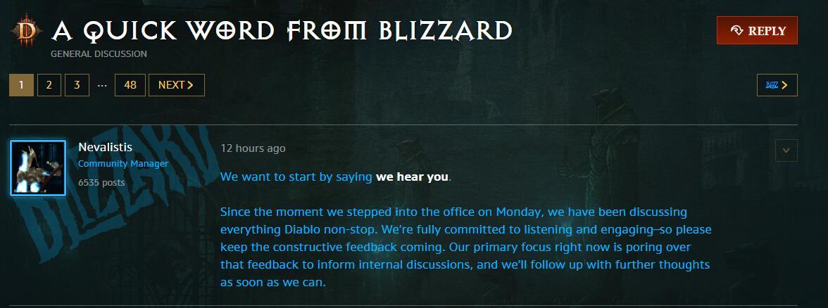 《暗黑破坏神》社区经理:我们听到了你们的声音