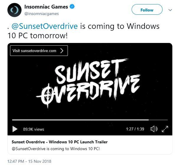 《日落过载》PC版正式公布 11月16日登陆Win10和Steam