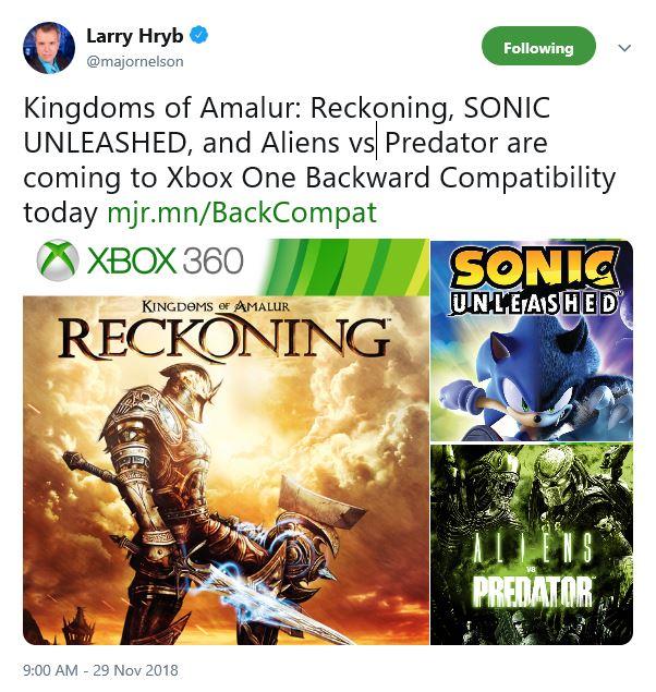 《异形大战铁血战士》《大地之国 罪与罚》《索尼克 释放》 加入Xbox向下兼容