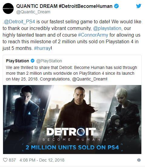 发售五个月,《底特律 成为人类》累计销量突破200万