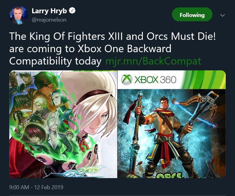 《拳皇13》《兽人必须死》加入Xbox向下兼容