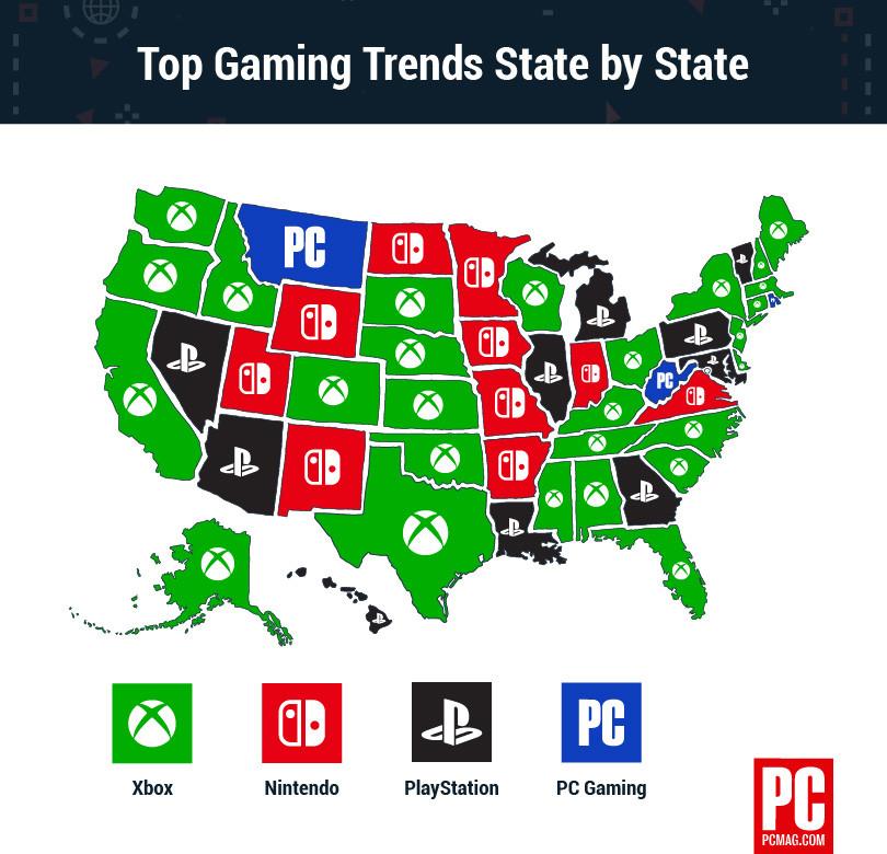 外媒发布美国betway官网手机版平台地图 Xbox获得最多支持