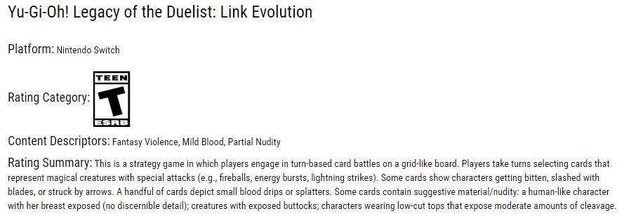 《游戏王 决斗者的遗产:链接进化》ESRB评级公布 为系列首款T级游戏