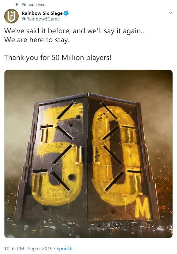 运营四年,《彩虹六号:围攻》玩家数突破5000万