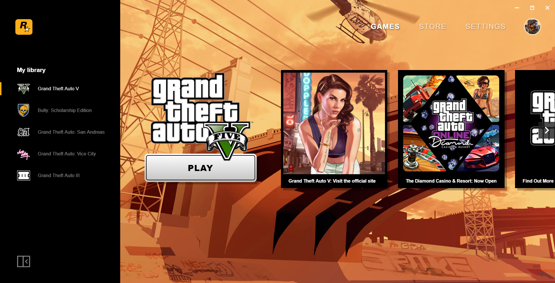 Rockstar also has its own PC game starter, download and send classic games.