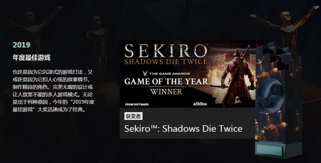 「Steam大獎」結果揭曉  《只狼 影逝二度》榮膺年度最佳